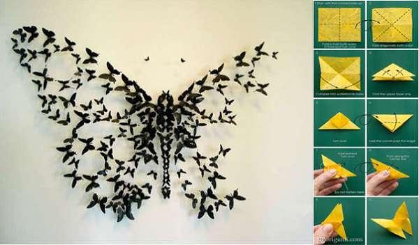 Hiasan Dinding Kamar dari Kertas Origami kupu kupu warna warni