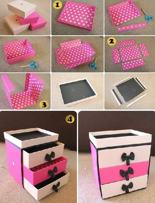 cara membuat tempat make up dari kardus